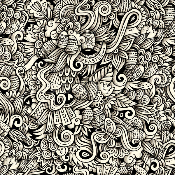 Cartoon hand-drawn doodles on the subject of Easter theme pattern Stock photo © balabolka