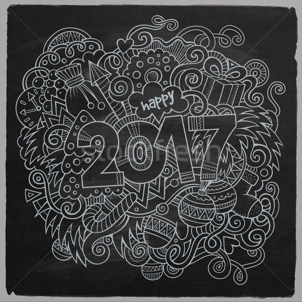Cartoon cute doodles hand drawn 2017 year illustration Stock photo © balabolka