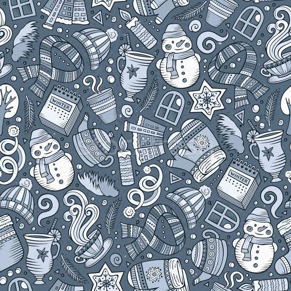 Stockfoto: Cartoon · cute · winterseizoen · lijn