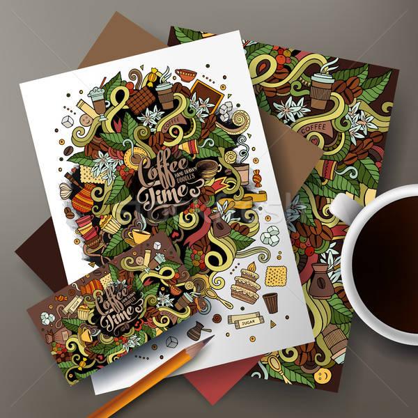 Cartoon cute vecteur dessinés à la main café Photo stock © balabolka