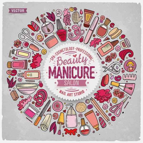 Foto stock: Vetor · conjunto · manicure · desenho · animado · rabisco · objetos