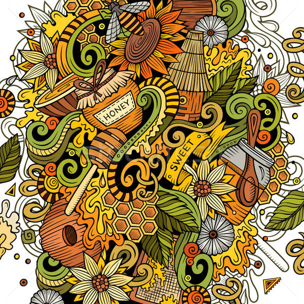 Cartoon cute doodles Honey illustration Stock photo © balabolka