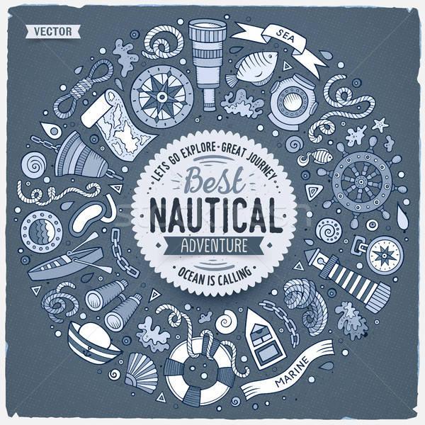Set of Nautical cartoon doodle objects, symbols and items Stock photo © balabolka