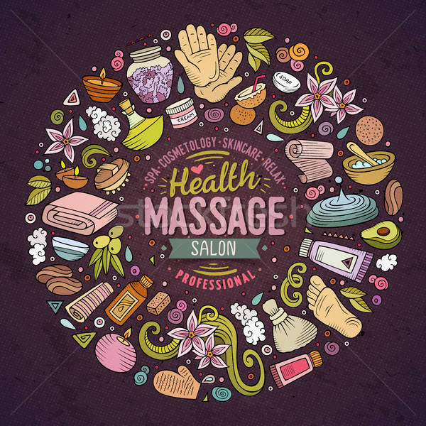 Foto stock: Vetor · conjunto · massagem · desenho · animado · rabisco · objetos