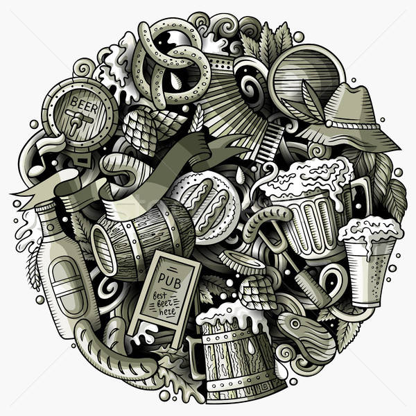 Cartoon vector doodles Beer fest illustration Stock photo © balabolka