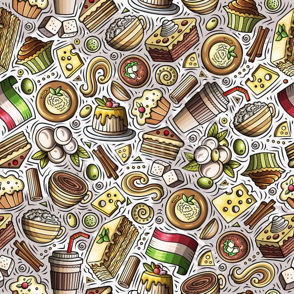 Stockfoto: Cartoon · cute · Italiaans · eten · kleurrijk