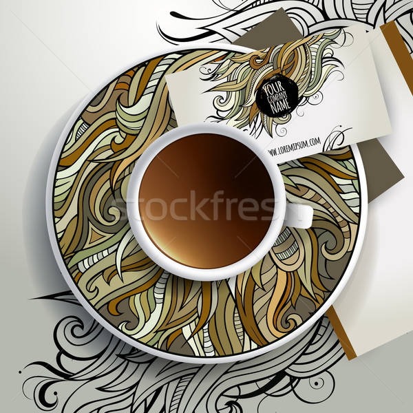 Vector Cup of coffee and floral ornament Stock photo © balabolka