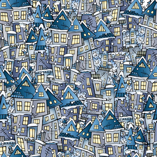 Stock photo: winter drawing houses seamless pattern