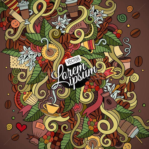 Firkák absztrakt dekoratív kávé kézzel rajzolt vektor Stock fotó © balabolka