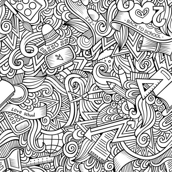 Cartoon vector hand drawn Doodles on the subject of school  Stock photo © balabolka