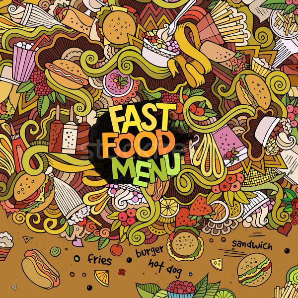 Cartoon vettore scarabocchi fast food dolci Foto d'archivio © balabolka