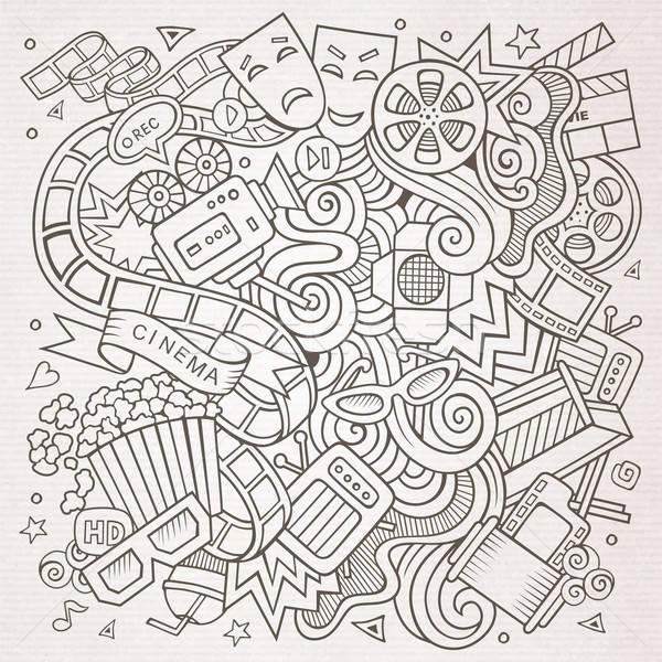 Cartoon vector hand-drawn Cinema Doodle. Sketchy design Stock photo © balabolka