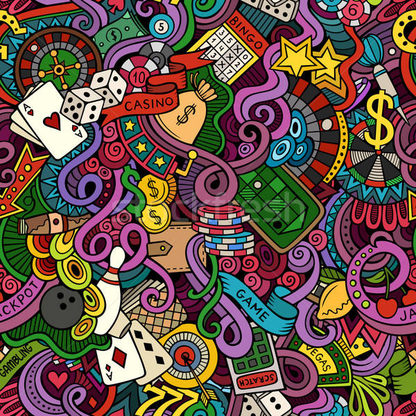 Cartoon hand-drawn doodles on the subject of casino style  Stock photo © balabolka