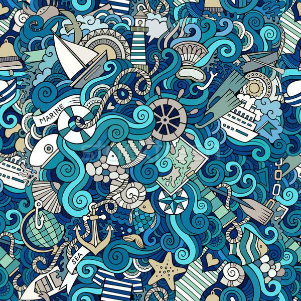 Mariene naadloos abstract patroon Stockfoto © balabolka