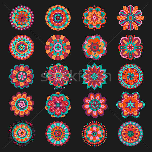 Set of floral design elements Stock photo © balabolka