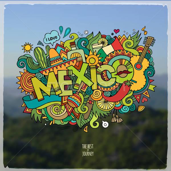 Meksyk strony bazgroły elementy godło symbolika Zdjęcia stock © balabolka