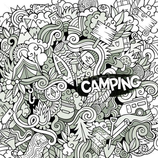 Desenho animado acampamento ilustração camping linha Foto stock © balabolka