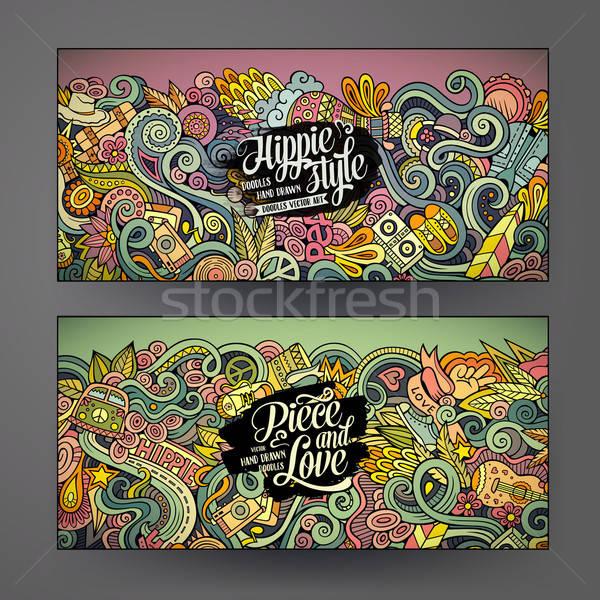 Cartoon вектора хиппи Баннеры красочный Сток-фото © balabolka