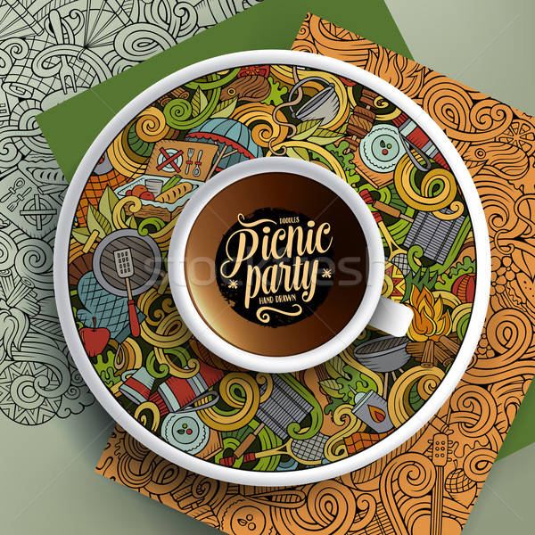 Cup of coffee and hand drawn picnic doodles Stock photo © balabolka