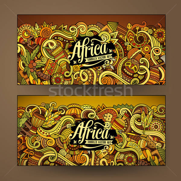 Cartoon cute vector doodles Africa banners Stock photo © balabolka