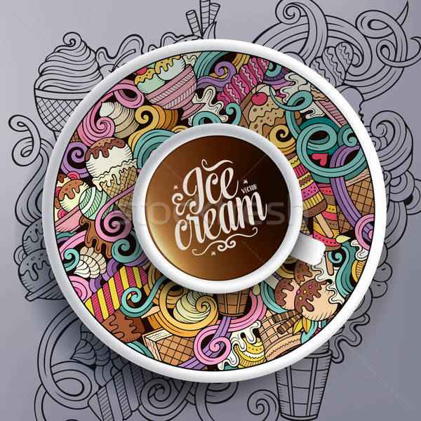 Cup of coffee and hand drawn ice cream theme Stock photo © balabolka