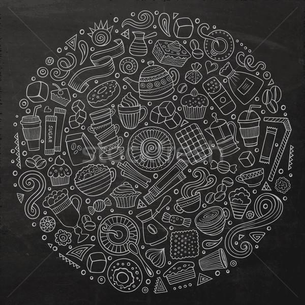 Stockfoto: Ingesteld · cafe · cartoon · doodle · objecten · schoolbord