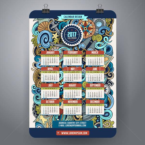 Zdjęcia stock: Cartoon · bazgroły · morski · kalendarza · kolorowy