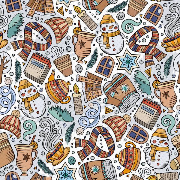 Cartoon cute dessinés à la main saison d'hiver coloré Photo stock © balabolka