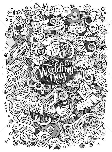 漫画 かわいい 手描き 結婚式 実例 ストックフォト © balabolka