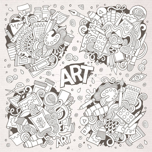 Art and paint materials doodles hand drawn vector designs Stock photo © balabolka