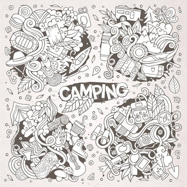 Camping naturaleza símbolos objetos dibujado a mano vector Foto stock © balabolka