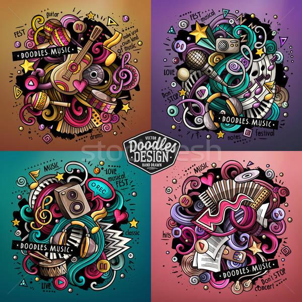Zene rajz vektor firka illusztráció színes Stock fotó © balabolka
