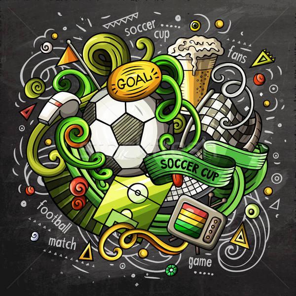 Foto stock: Fútbol · Cartoon · vector · garabato · ilustración · pizarra