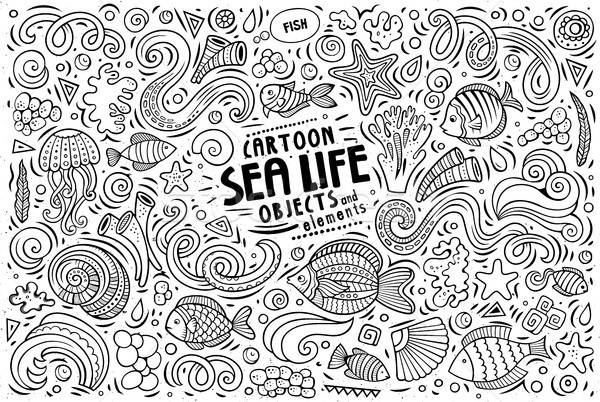 Doodle cartoon set of Sea Life objects and symbols Stock photo © balabolka