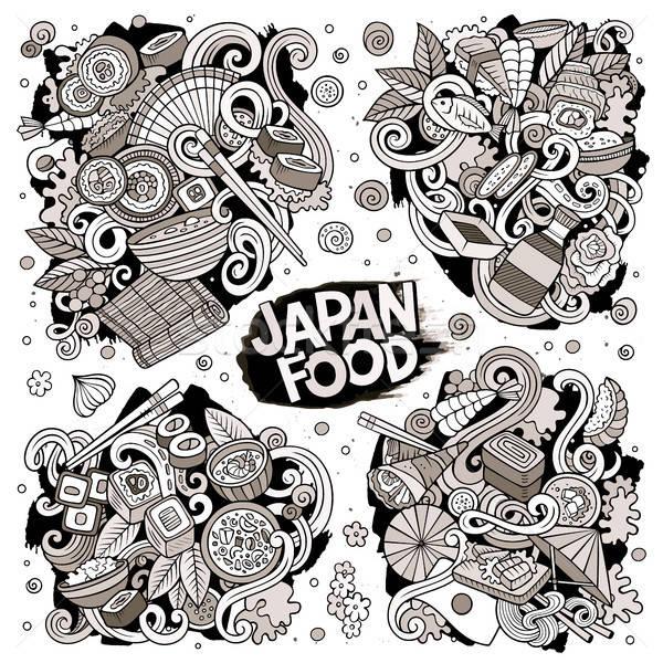 Сток-фото: вектора · рисованной · Cartoon · набор · Япония