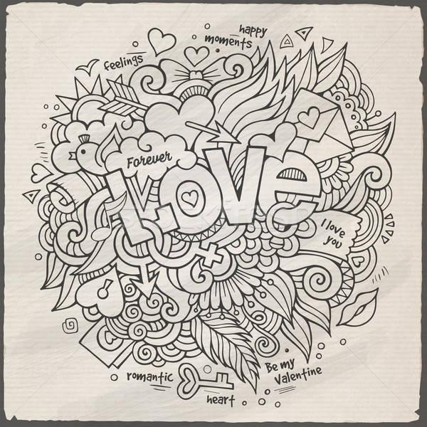 Foto d'archivio: Amore · mano · scarabocchi · elementi · sketch · carta
