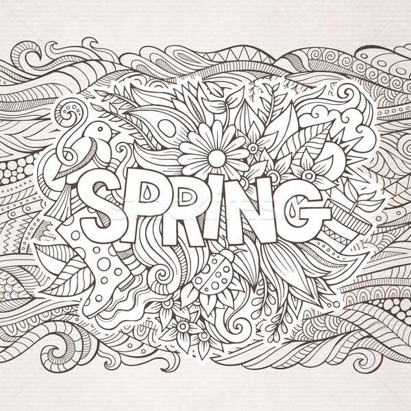 Primavera mano scarabocchi elementi fiore erba Foto d'archivio © balabolka
