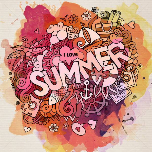 Summer watercolor hand lettering and doodles elements. Vector il Stock photo © balabolka