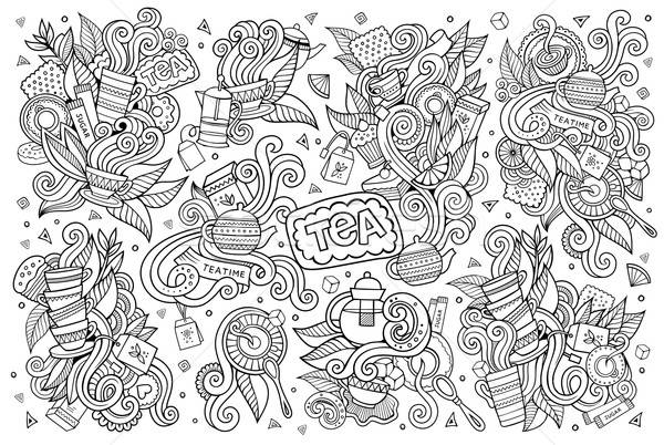 Tea time doodles hand drawn sketchy vector symbols  Stock photo © balabolka