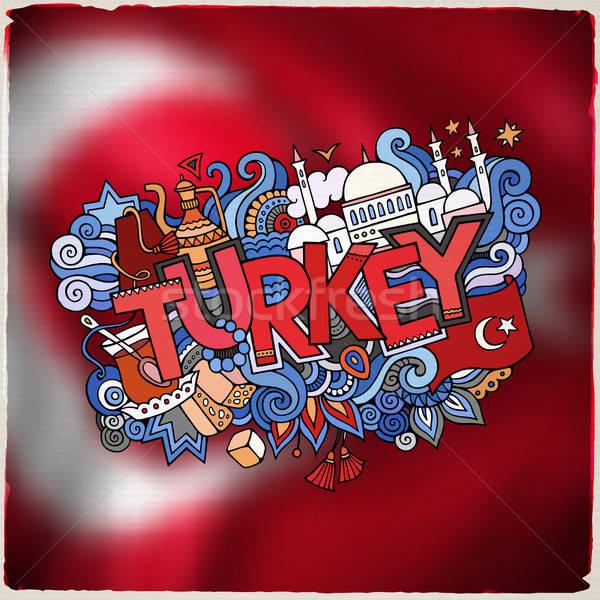 Törökország kéz firkák elemek embléma szimbólumok Stock fotó © balabolka