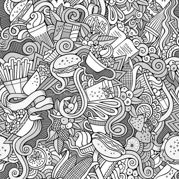 Cartoon hand-drawn doodles on the subject of fast food seamless pattern Stock photo © balabolka