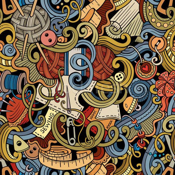 Desenho animado feito à mão de costura colorido Foto stock © balabolka