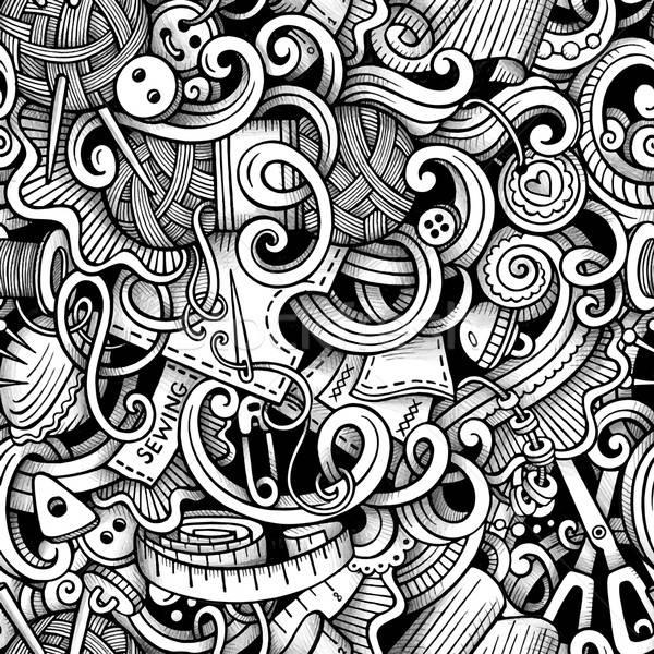 Cartoon hand-drawn doodles hand made, sewing seamless pattern Stock photo © balabolka