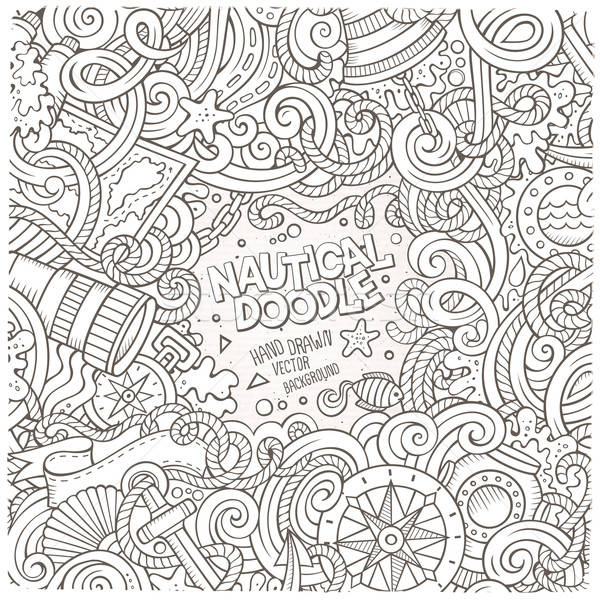 Nautical cartoon vector hand drawn doodle frame Stock photo © balabolka