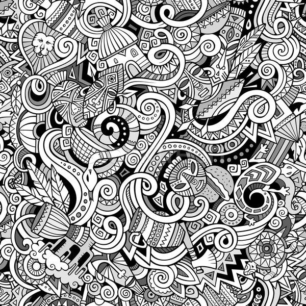 漫畫 可愛 塗鴉 手工繪製 非洲 商業照片 © balabolka