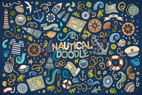 Szett tengeri tengerészeti tárgyak szimbólumok színes Stock fotó © balabolka