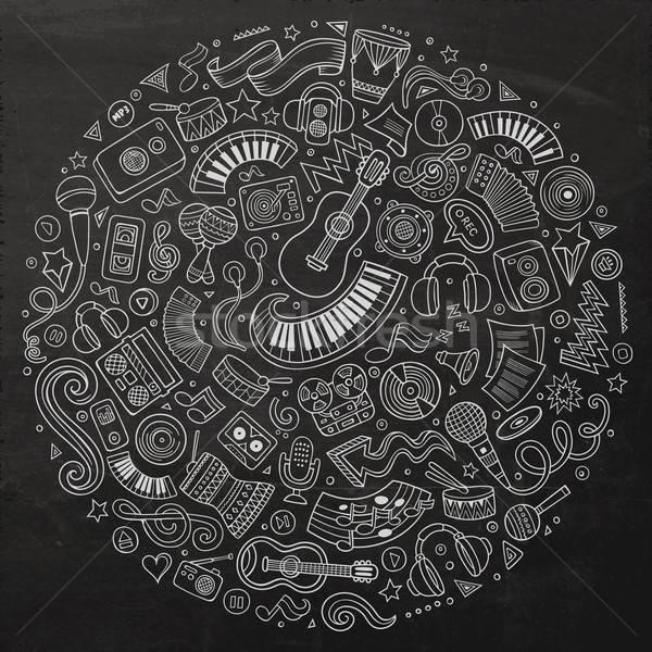 набор музыкальный Cartoon болван объекты доске Сток-фото © balabolka