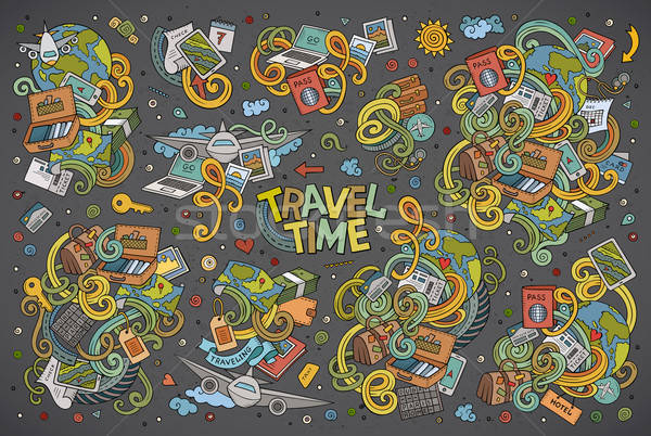 Foto stock: Vetor · rabisco · desenho · animado · conjunto · viajar · colorido