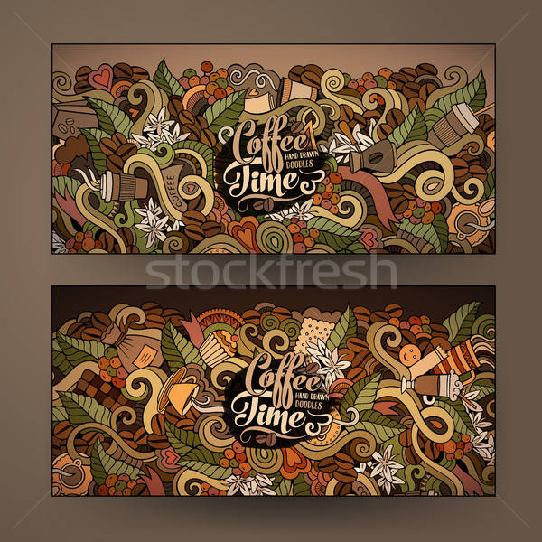 Vector banner templates doodles coffee theme Stock photo © balabolka