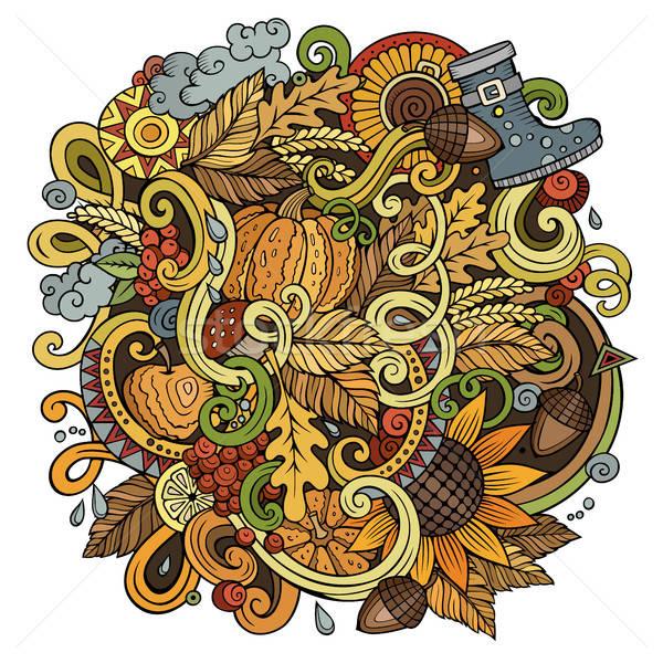 Karikatür sevimli karalamalar sonbahar örnek Stok fotoğraf © balabolka